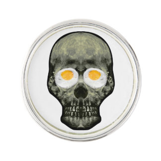 Skull with Fried Egg Eyes Lapel Pin
