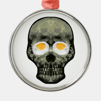 Skull with Fried Egg Eyes Metal Ornament