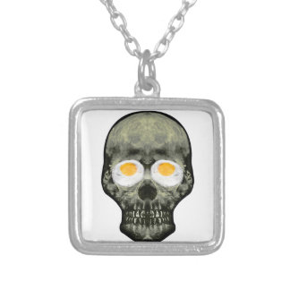 Skull with Fried Egg Eyes Silver Plated Necklace