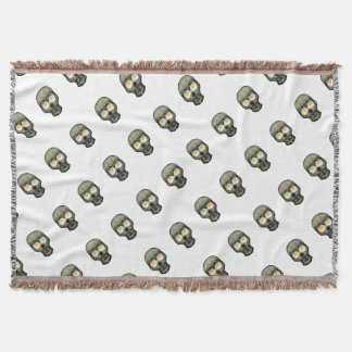 Skull with Fried Egg Eyes Throw Blanket