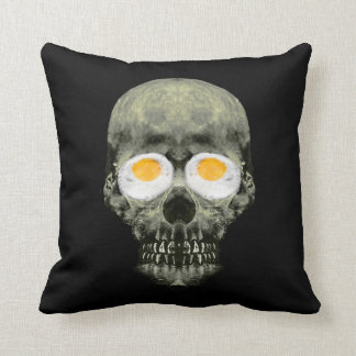 Skull with Fried Egg Eyes Throw Pillow