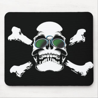 Skull with Green Sunglasses Art Mouse Pad