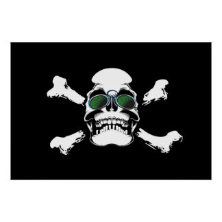 Skull with Green Sunglasses Art Poster