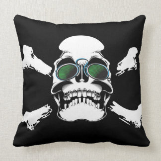 Skull with Green Sunglasses Art Throw Pillow