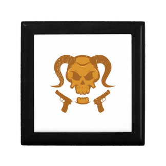 Skull with gun gift box
