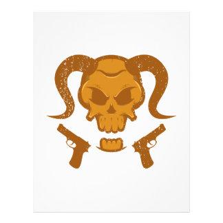 Skull with gun letterhead template