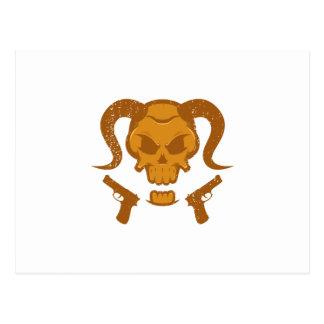 Skull with gun postcard