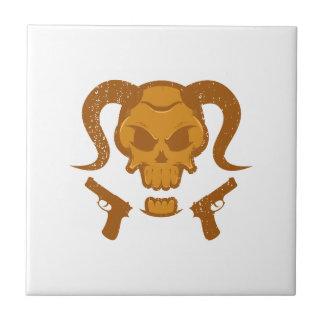 Skull with gun tile