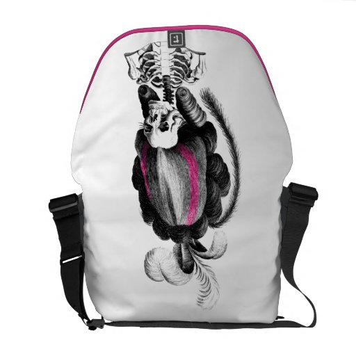 Skull with Hair Courier Bags