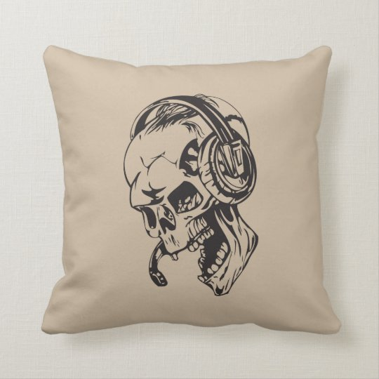 Skull With Headphone Throw Pillow