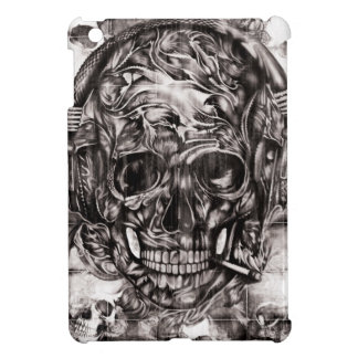 Skull with headphones hand drawn artwork. cover for the iPad mini
