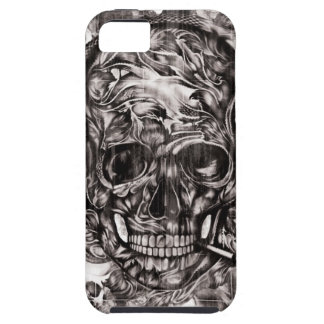 Skull with headphones hand drawn artwork. iPhone 5 covers