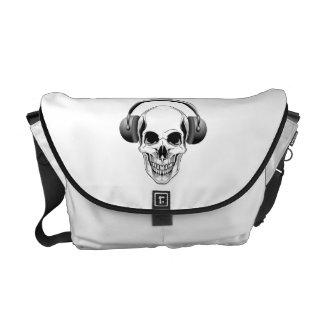 Skull with Headphones Messenger Bags