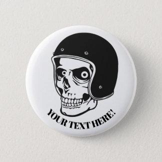 Skull with helmet 2 inch round button