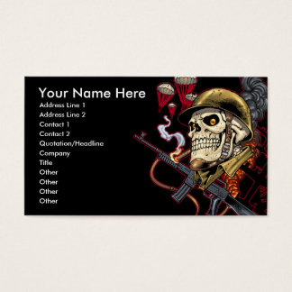 Skull with Helmet, Airplanes and Bombs Business Card