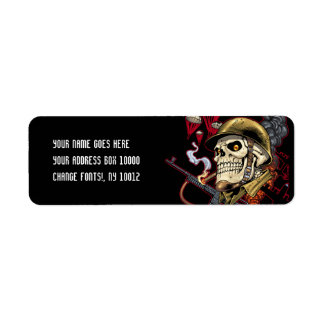 Skull with Helmet, Airplanes and Bombs Return Address Label