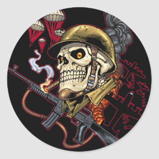 Skull with Helmet, Airplanes and Bombs Round Sticker
