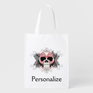 Skull With Lace Butterflies Art Reusable Grocery Bag