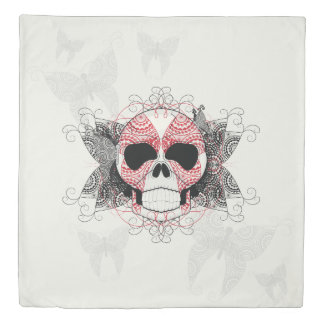 Skull With Lace Butterflies Art With Pattern Duvet Cover