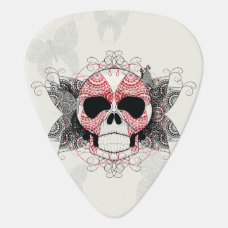 Skull With Lace Butterflies Art With Pattern Guitar Pick