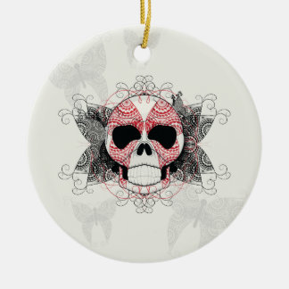 Skull With Lace Butterflies Art With Pattern Round Ceramic Ornament