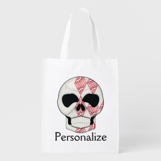 Skull With Lace Diamonds Art Reusable Grocery Bag