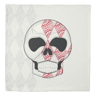 Skull With Lace Diamonds Art With Pattern Duvet Cover