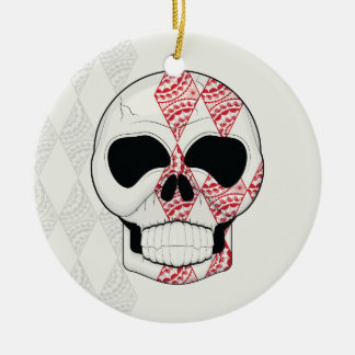 Skull With Lace Diamonds Art With Pattern Round Ceramic Ornament