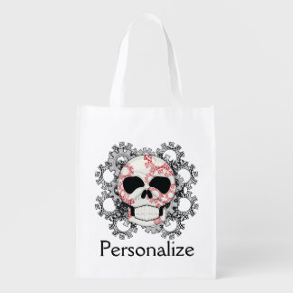 Skull With Lace Gears Art Reusable Grocery Bag