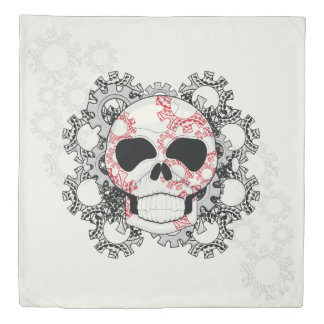 Skull With Lace Gears Art With Pattern Duvet Cover