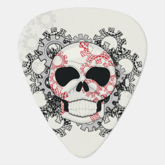 Skull With Lace Gears Art With Pattern Guitar Pick