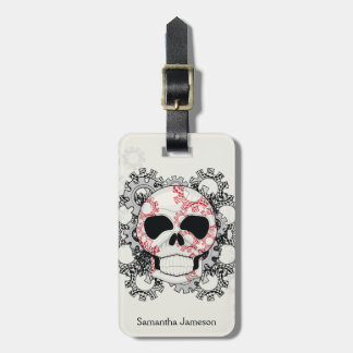 Skull With Lace Gears Art With Pattern Luggage Tag