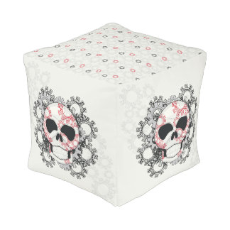 Skull With Lace Gears Art With Pattern Pouf