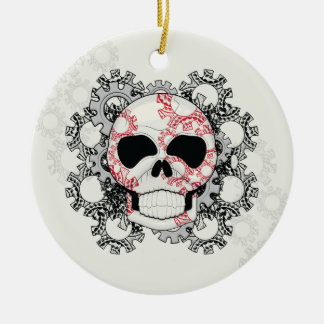 Skull With Lace Gears Art With Pattern Round Ceramic Ornament