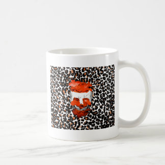 Skull With Orange Flowers on Leopard Print Coffee Mug