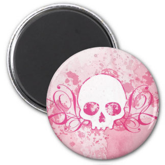 Skull with Pink Splatters and Swirls Magnet