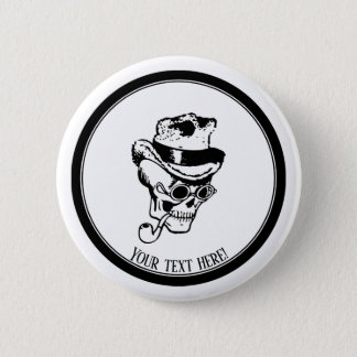 Skull with pipe and hat 2 inch round button