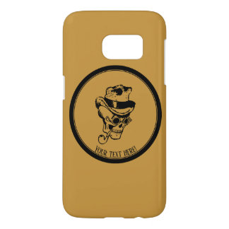 Skull with pipe and hat samsung galaxy s7 case