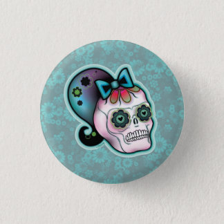 Skull with Ponytail Button
