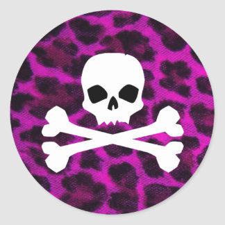 Skull with Purple Leopard Print Classic Round Sticker