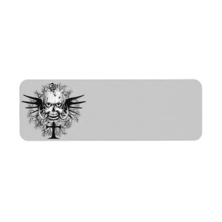 Skull With Rose, Horns, Cross, Wings Illustration Return Address Label
