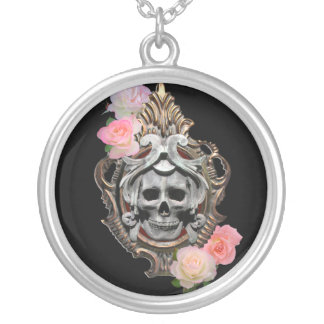 Skull With Roses Necklace