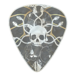 Skull with snakes pearl celluloid guitar pick