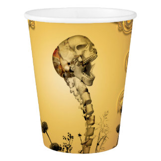 Skull with spinal column paper cup