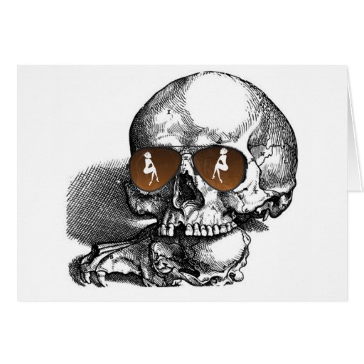 SKULL WITH SUNGLASSES AND WOMEN PRINT CARD