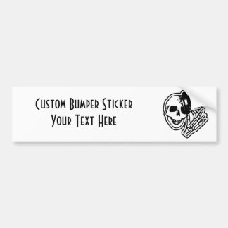 Skull With Top Hat Car Bumper Sticker