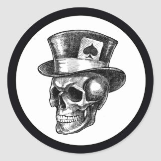 Skull with Tophat Round Sticker
