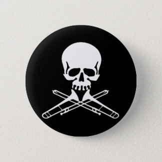 Skull with Trombones as Crossbones 2 Inch Round Button