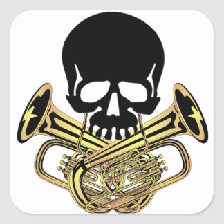 Skull with Tuba Crossbones Square Sticker
