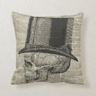 Skull with victorian hat stencil over old book pag throw pillow